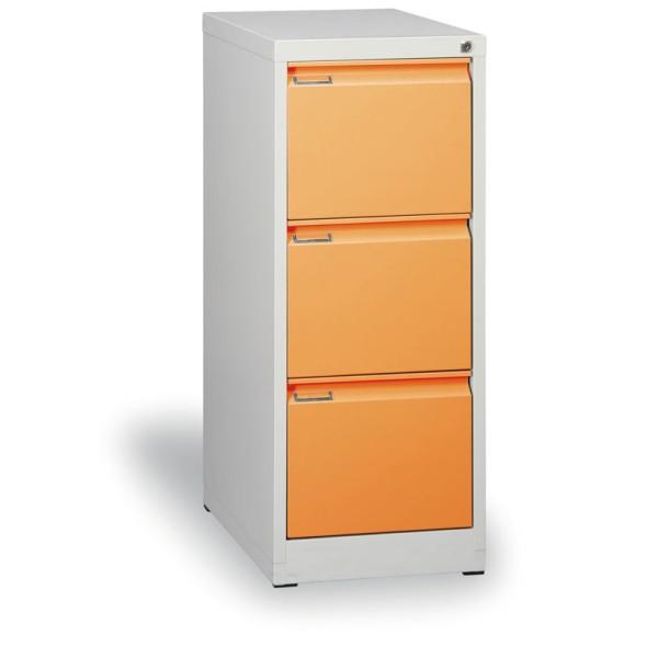 Kovová kartotéka A4, 3 zásuvky, demontovaná, oranžová