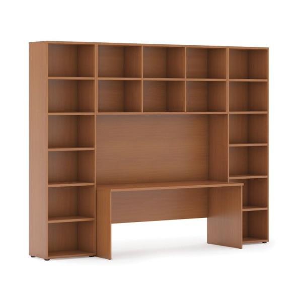 Sestavy knihoven s integrovaným stolem, vyšší, 2950 x 700/400 x 2300 mm, třešeň