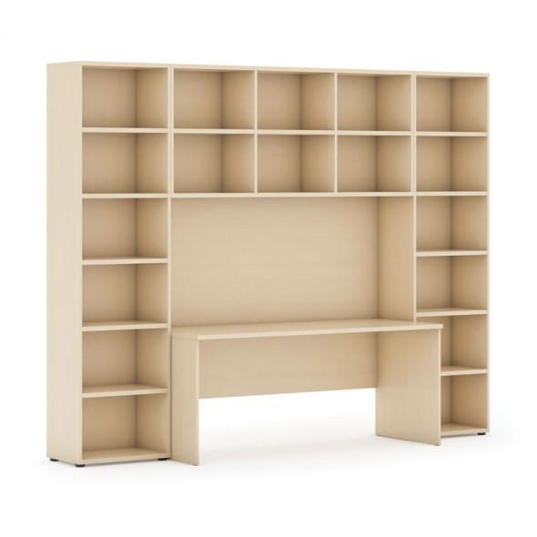 Sestavy knihoven s integrovaným stolem, vyšší, 2950 x 700/400 x 2300 mm, bříza