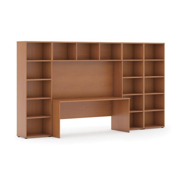 Sestavy knihoven s integrovaným stolem, nižší/širší, 3350 x 700/400 x 1923 mm, třešeň