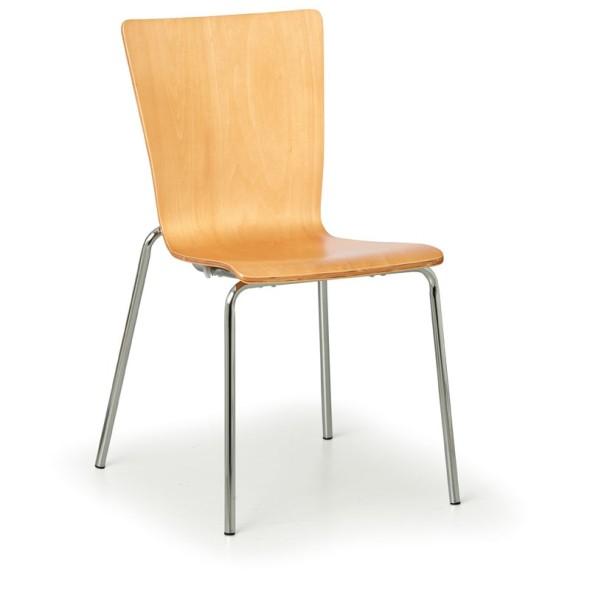 Dřevěná židle s chromovannou konstrukcí CALGARY, přírodní, 4 ks