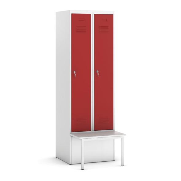 Šatní skříňka s lavičkou, červené dveře, cylindrický zámek