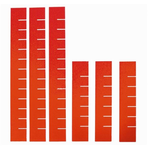 Dělící příčky do zásuvek k dílenskému vozíku 6 ks, červená