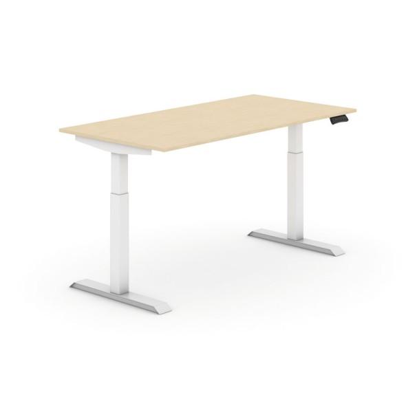 Výškově nastavitelný stůl, elektrický, 735-1235 mm,  deska 1600x800 mm, bříza, bílá podnož