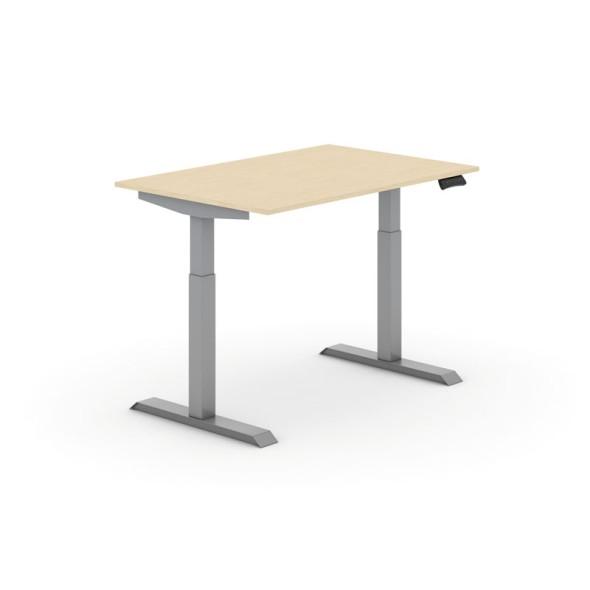 Výškově nastavitelný stůl, elektrický, 735-1235 mm,  deska 1200x800 mm, bříza, šedá podnož