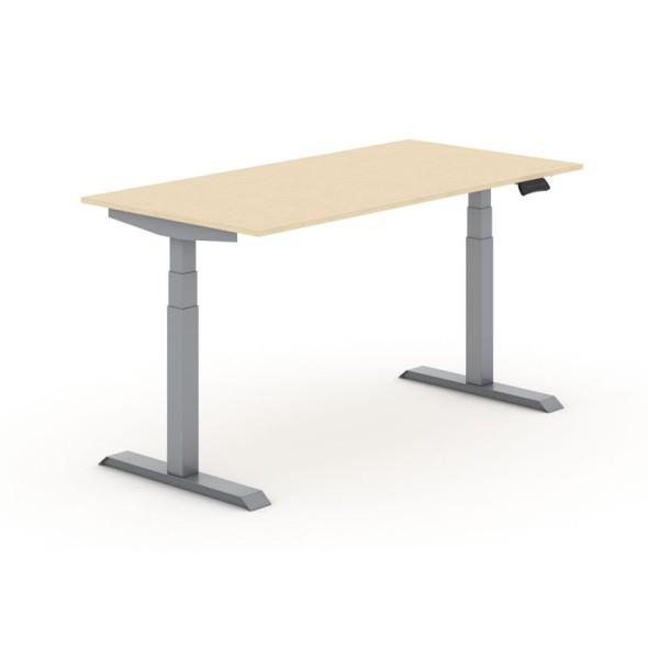 Výškově nastavitelný stůl, elektrický, 625-1275 mm, deska 1800x800 mm, bříza, šedá podnož