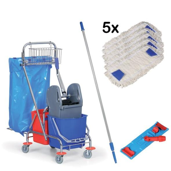 Výhodná sada: Úklidový vozík a kompletní mop