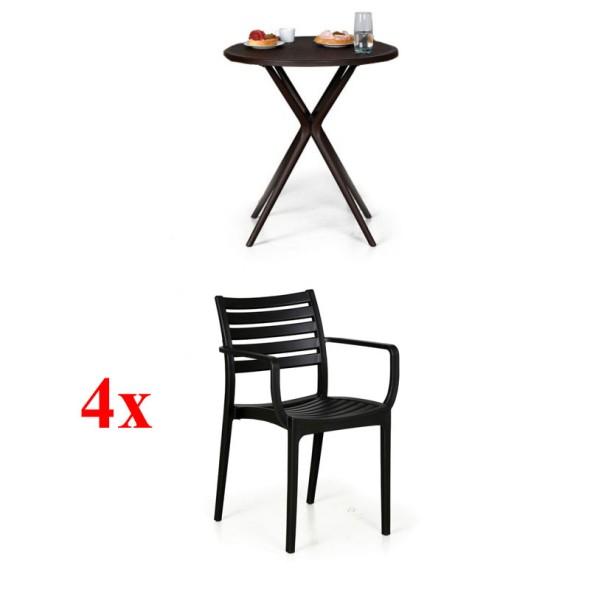 4x židle Slender, černá + stolek Coffee Time ZDARMA
