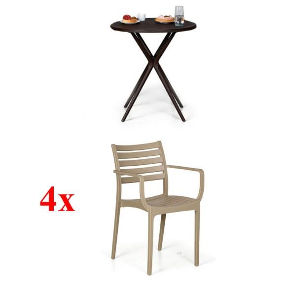 4x židle Slender, béžová + stolek Coffee Time ZDARMA
