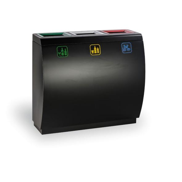 Koš na tříděný odpad, 3x50 l, kovový
