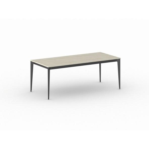 Jednací stůl ACTION s černou podnoží 2000 x 900 x 750 mm, dub přírodní
