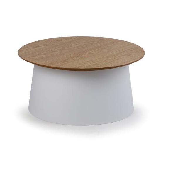 Plastový kávový stolek SETA s dřevěnou deskou, průměr 690 mm, bílý