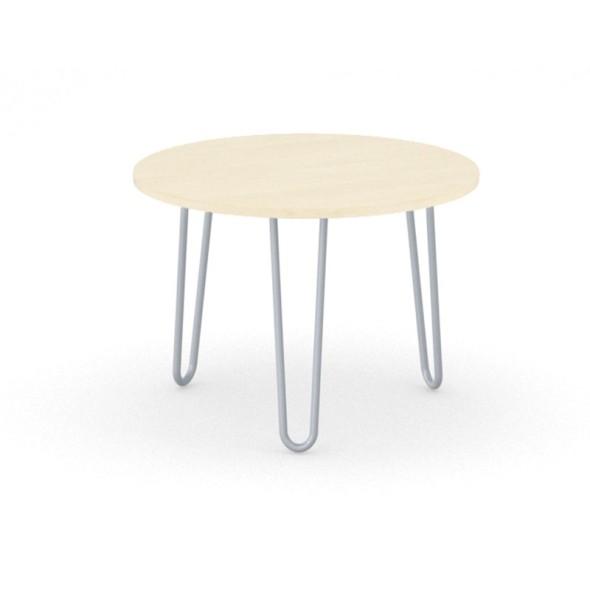 Kulatý konferenční stůl SPIDER, průměr 600 mm, šedo-stříbrná podnož, deska bříza