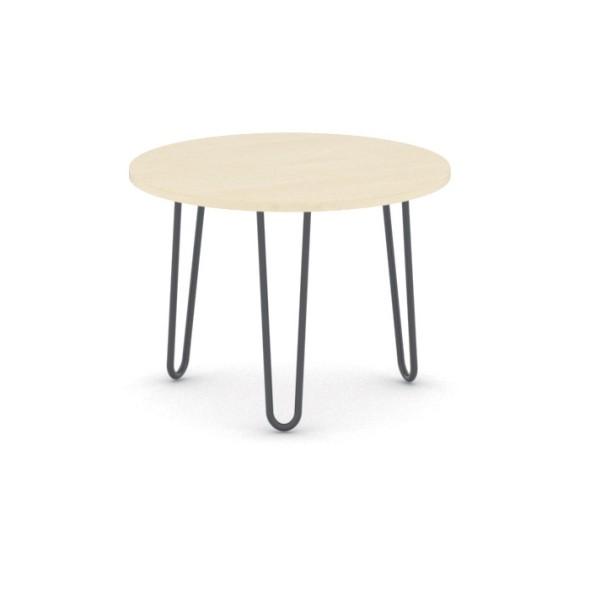 Kulatý konferenční stůl SPIDER, průměr 600 mm, černá podnož, deska bříza