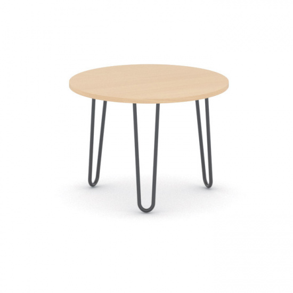 Kulatý konferenční stůl SPIDER, průměr 600 mm, černá podnož, deska buk