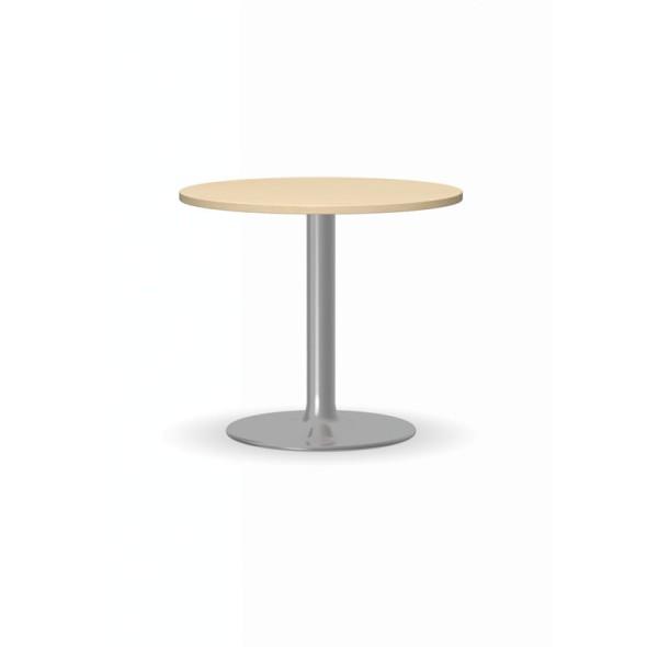 Konferenční stolek ZEUS II, průměr 600 mm, chromovaná podnož, deska bříza