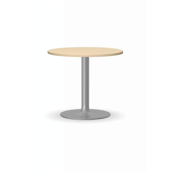 Konferenční stolek ZEUS II, průměr 600 mm, šedá podnož, deska bříza