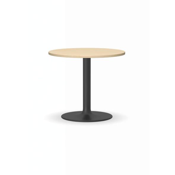 Konferenční stolek ZEUS II, průměr 600 mm, černá podnož, deska bříza