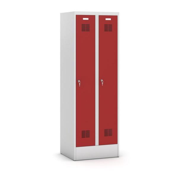 Kovová šatní skříň, červené dveře, otočný zámek