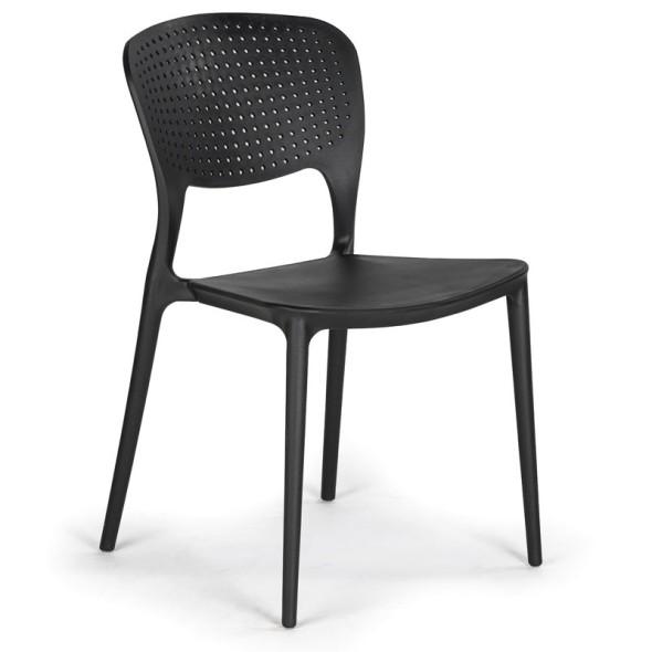 Plastová jídelní židle EASY, černá, 4 ks