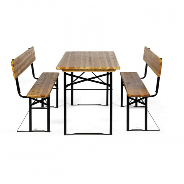 Zahradní pivní set s opěradly - 2x lavice, 1x stůl