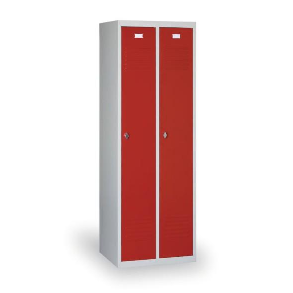 Kovová šatní skříňka Ekonomik, červené dveře, cylindrický zámek