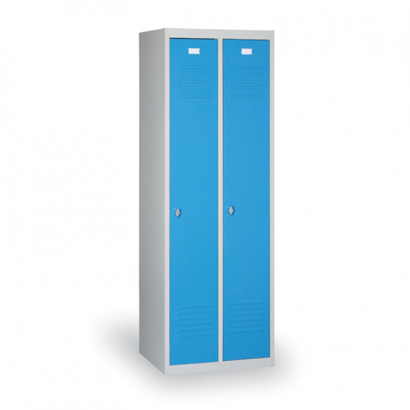 Kovová šatní skříňka Ekonomik, modré dveře, cylindrický zámek