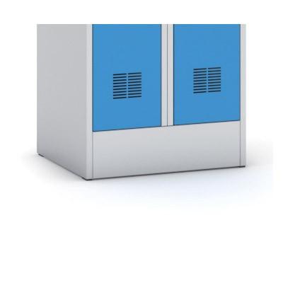 Kovová šatní skříň, modré dveře, cylindrický zámek
