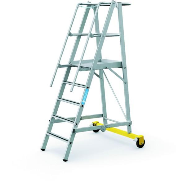 Hliníkový skládací plošinový žebřík, 5 příček, výška plošiny 1,3 m