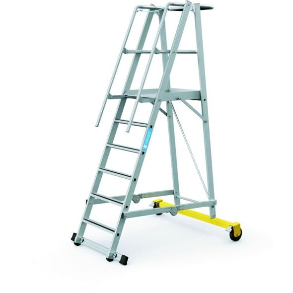 Hliníkový skládací plošinový žebřík, 6 příček, výška plošiny 1,6 m