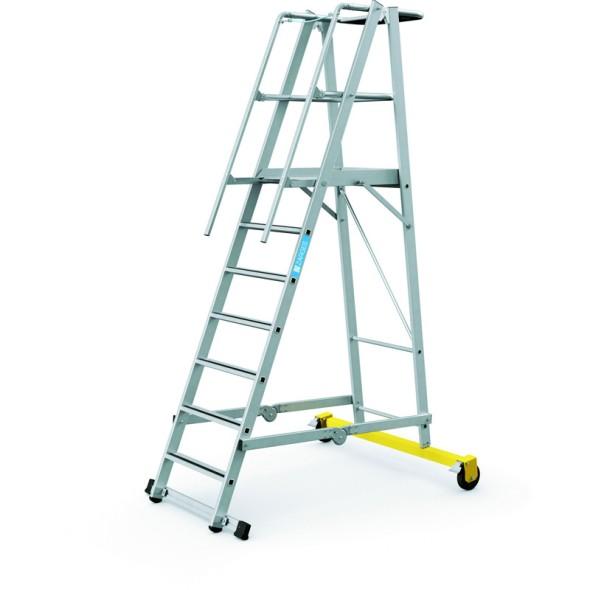 Hliníkový skládací plošinový žebřík, 7 příček, výška plošiny 1,8 m
