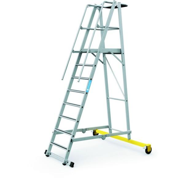 Hliníkový skládací plošinový žebřík, 8 příček, výška plošiny 2,1 m
