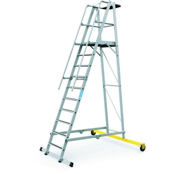 Hliníkový skládací plošinový žebřík, 10 příček, výška plošiny 2,6 m