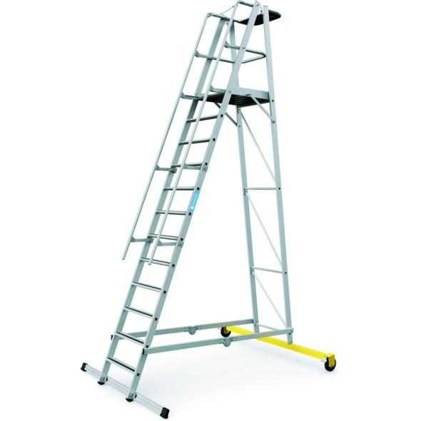 Hliníkový skládací plošinový žebřík, 12 příček, výška plošiny 3,1 m