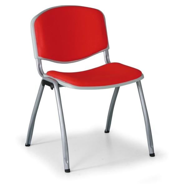Konferenční židle VORNO 3+1, látkové čalounění, červená