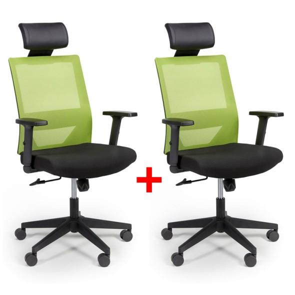 Kancelářská židle se síťovaným opěrákem WOLF, nastavitelné područky, plastový kříž, 1+1 ZDARMA, zelená