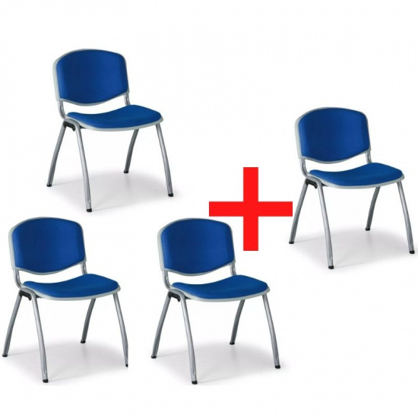 Konferenční židle VORNO 3+1 ZDARMA, látkové čalounění, modrá