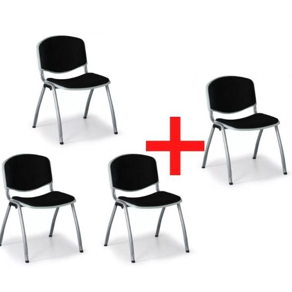 Konferenční židle VORNO 3+1 ZDARMA, látkové čalounění, černá