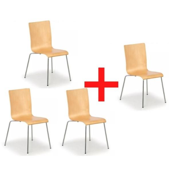 Dřevěná židle s chromovanou konstrukcí CLASSIC 3+1 ZDARMA, přírodní