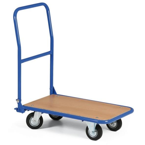 Vozík s dřevotřískovou plošinou a sklopným madlem