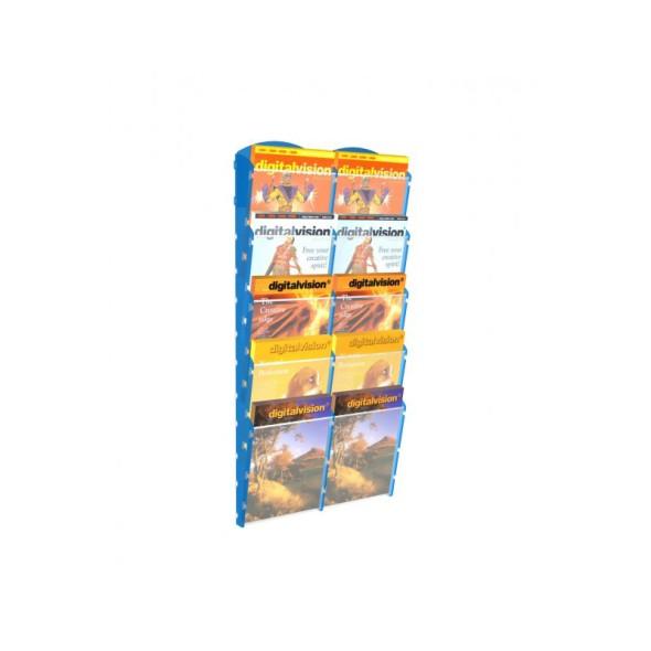 Nástěnný plastový zásobník na prospekty - 2 x 5 A4, modrý