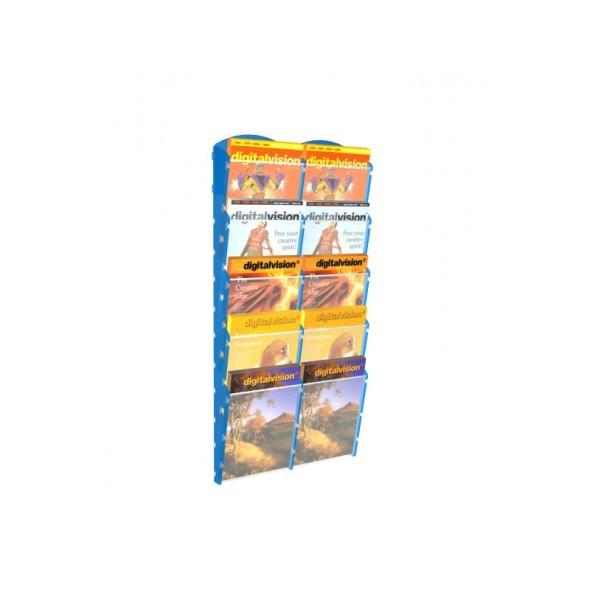 Nástěnný plastový zásobník na prospekty - 2 x 5 A5, modrý
