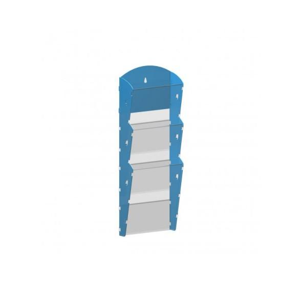 Nástěnný plastový zásobník na prospekty - 1 x 3 A4, modrý