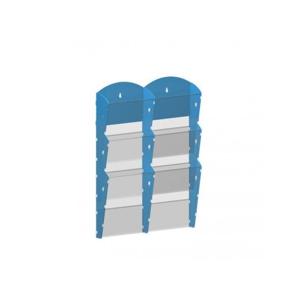Nástěnný plastový zásobník na prospekty - 2 x 3 A4, modrý