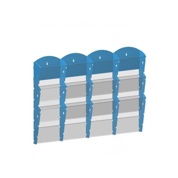Nástěnný plastový zásobník na prospekty - 4 x 3 A4, modrý