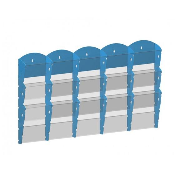 Nástěnný plastový zásobník na prospekty - 5 x 3 A4, modrý