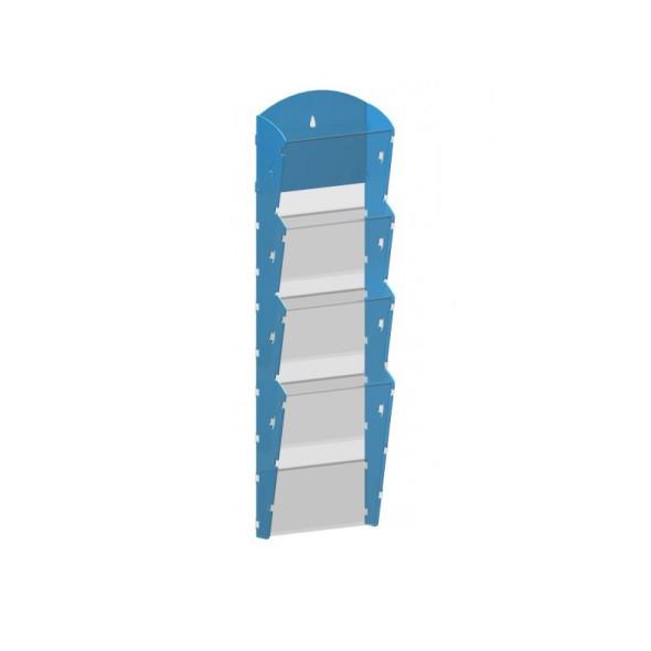 Nástěnný plastový zásobník na prospekty - 1 x 4 A4, modrý
