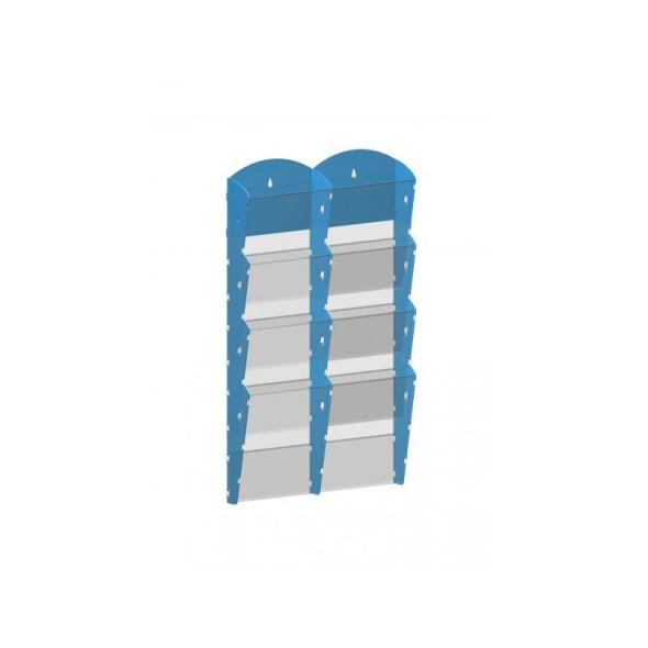 Nástěnný plastový zásobník na prospekty - 2 x 4 A4, modrý