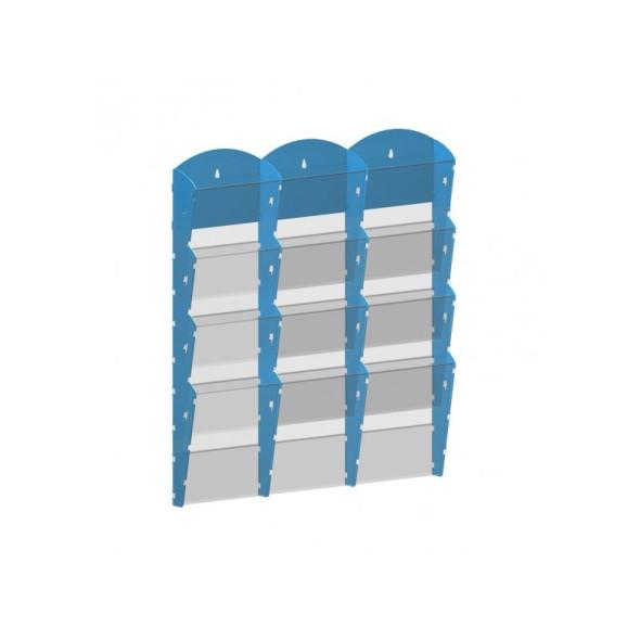 Nástěnný plastový zásobník na prospekty - 3 x 4 A4, modrý
