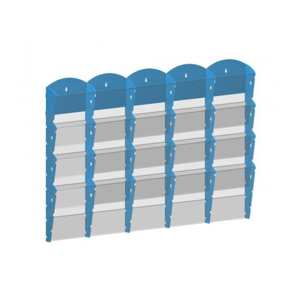 Nástěnný plastový zásobník na prospekty - 5 x 4 A4, modrý